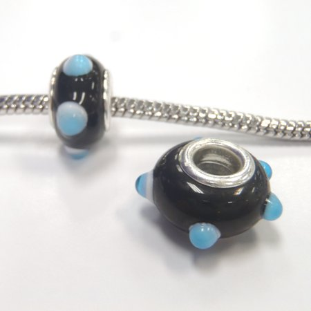3 Beads - Blue Black Bumpy Lampwork Glass Brass Core Silver European Bead Charm E1011