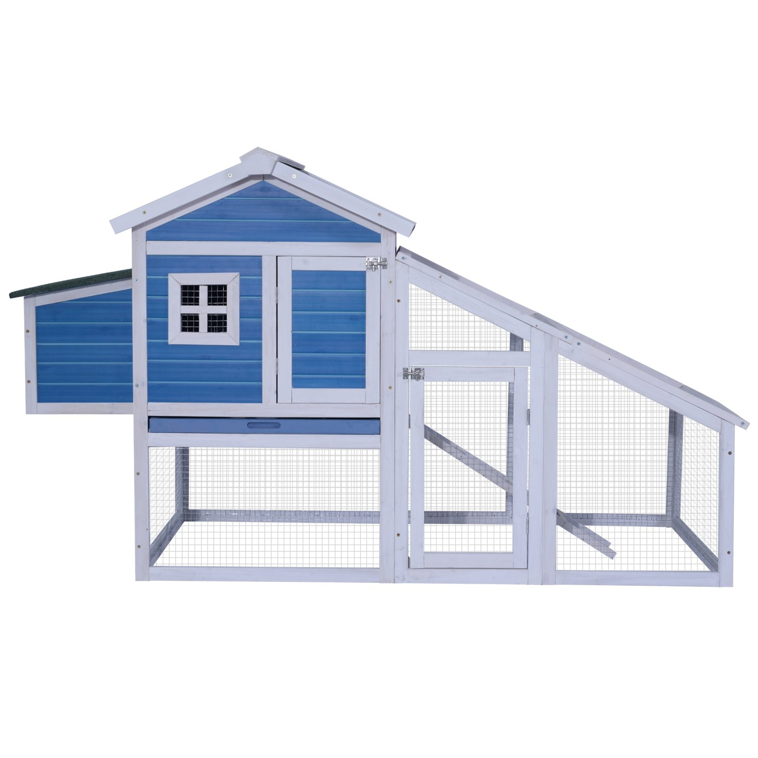 "Lovupet 70"" Deluxe Wood-Plastic Composite Coop Backyard Nest Box Pet Cage Rabbit Hen Hutch  N0326 (Blue)"