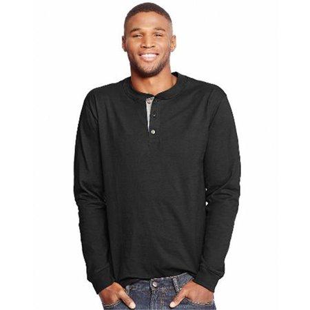 O5719 Beefy Mens Long-Sleeve Henley T-Shirt, Ebony - Medium