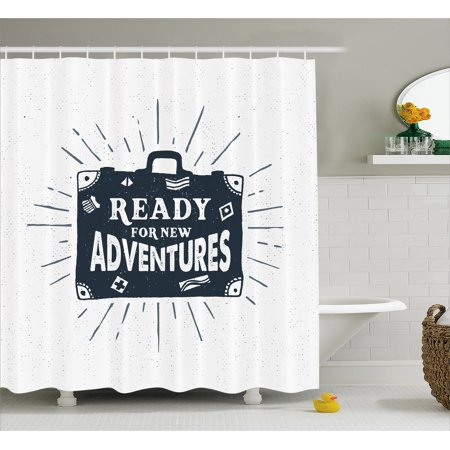 Adventure Shower Curtain Ready For New Adventures Briefcase Traveling Journey Themed Design Work Of Art