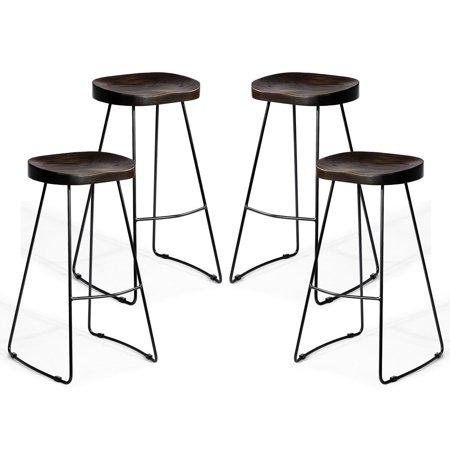 Set Of 4 Industrial Vintage Bar Stool Wood Saddle Seat