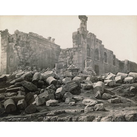 Jordan Roman Ruins Nruins Of The Roman Temple Of Zeus Built In The 2Nd Century Ad At Jerash Jordan Photograph Late 19Th Century Rolled Canvas Art     18 X 24