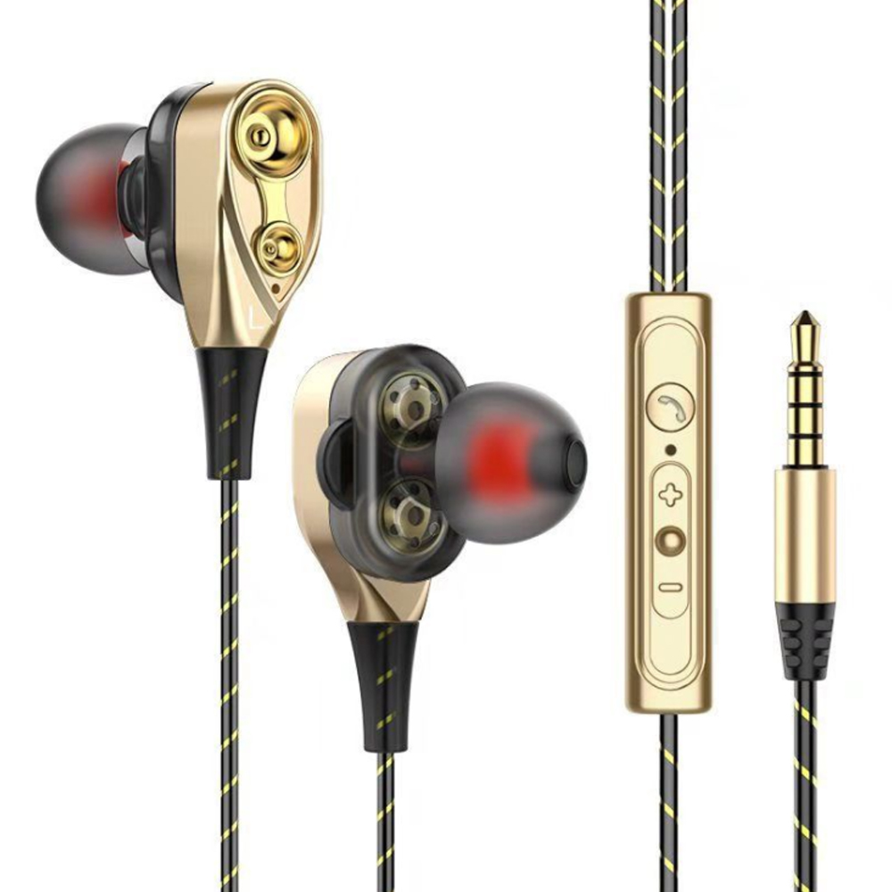 Dual-Dynamic Quad-core 3.5mm Noise Isolation Sport In-ear Earphone with Microphone and Subwoofer Earphone for Universal Mobile Phone Flexible