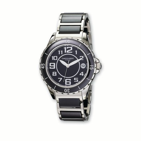 Lex & Lu Ladies Charles Hubert Stainless Steel and Ceramic Black Dial Watch XWA1804