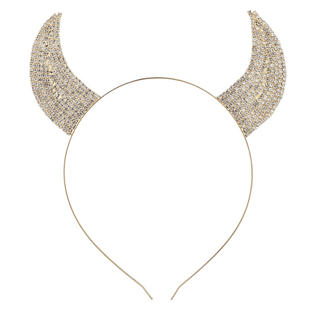 Lux Accessories Gold Tone Faux Rhinestone Devil Horn Costume Cat Ear Headband (Devil Horms)