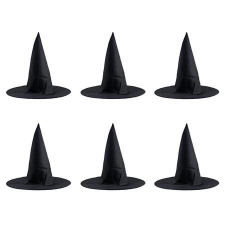6 Pcs Halloween Steeple Witch Hat Classic Black Magic Cap Party Props Accessories](Top Hat Prop)