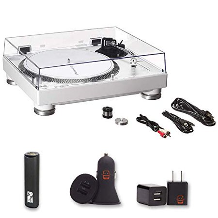 Pioneer DJ PLX-500-W Direct Drive DJ Turntable, White with 2 Year Warranty + PowerBank, USB Car Charger, USB (Best Cartridge For Pioneer Plx 1000)