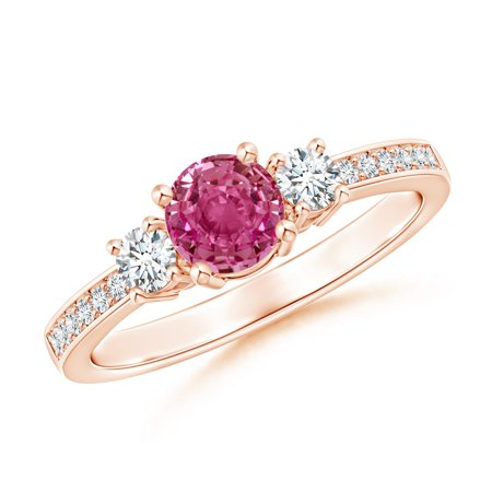 September Birthstone Ring - Classic Three Stone Pink Sapphire and Diamond Ring in 14K Rose Gold (5mm Pink Sapphire) - SR0155PS-RG-AAAA-5-7 (Rose Gold And Pink Sapphire Ring)