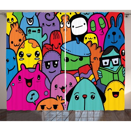 Indie Curtains 2 Panels Set, Hand Drawn Colorful Doodle of Funny Cute Crazy Monster Buddies Group Drawing Style, Window Drapes for Living Room Bedroom, 108W X 63L Inches, Multicolor, by Ambesonne