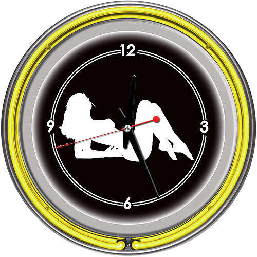 "Shadow Babes, A Series Yellow 14"" Neon Wall Clock"