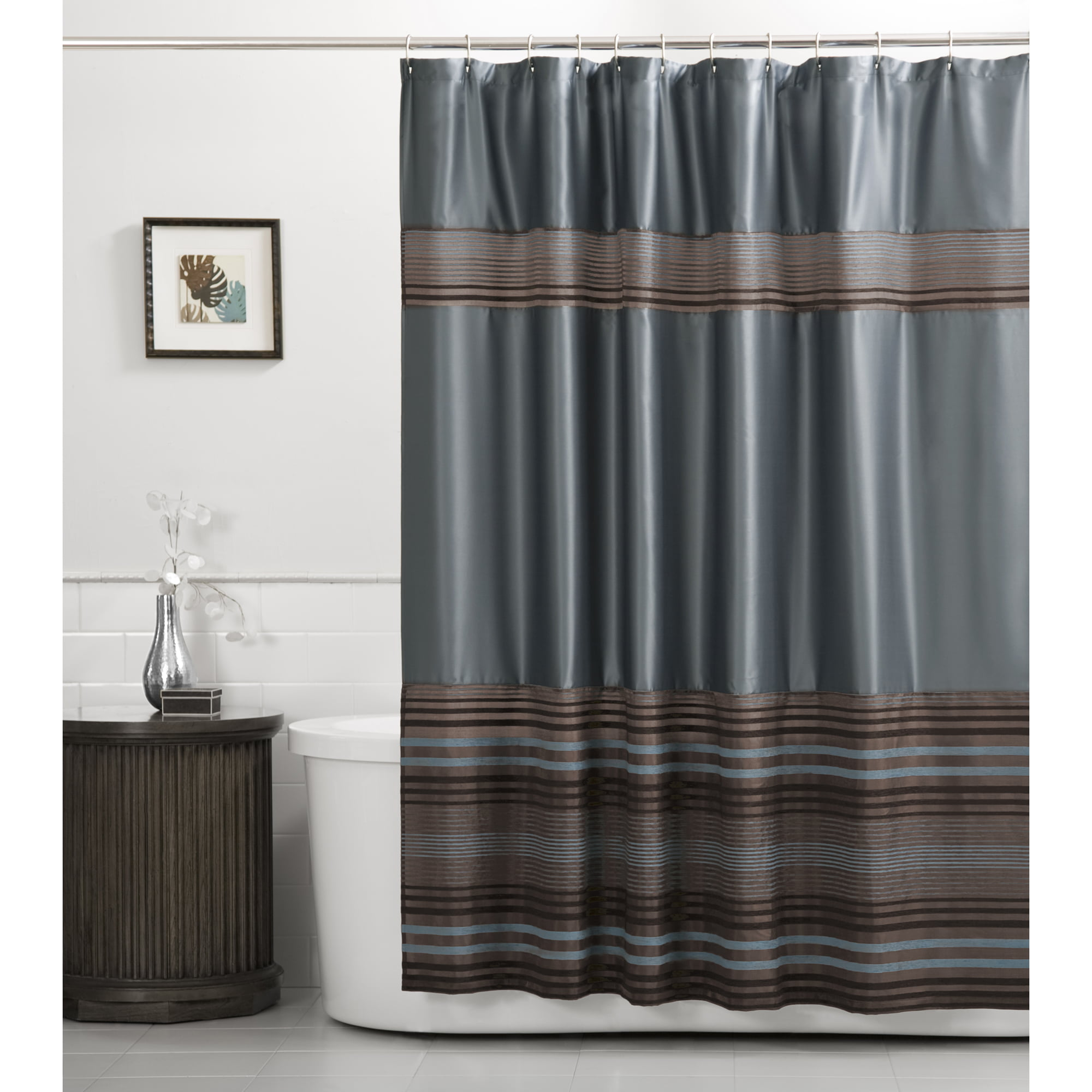 Electric Blue Grey White Canvas Fabric Shower Curtain
