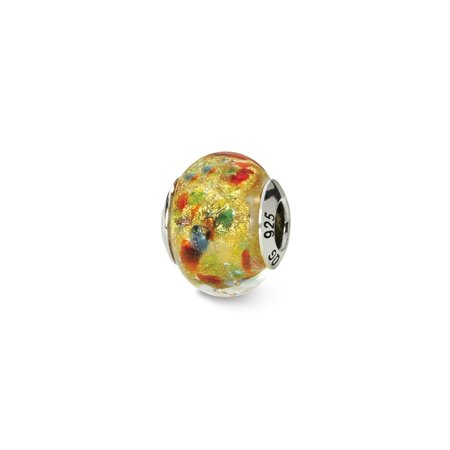 Solid 925 Sterling Silver Reflections Yellowith Multi Italian Murano Bead (10.9mm x 15.5mm)