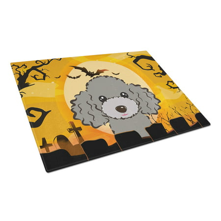 Halloween Silver Gray Poodle Glass Cutting Board Large - Halloween 1817