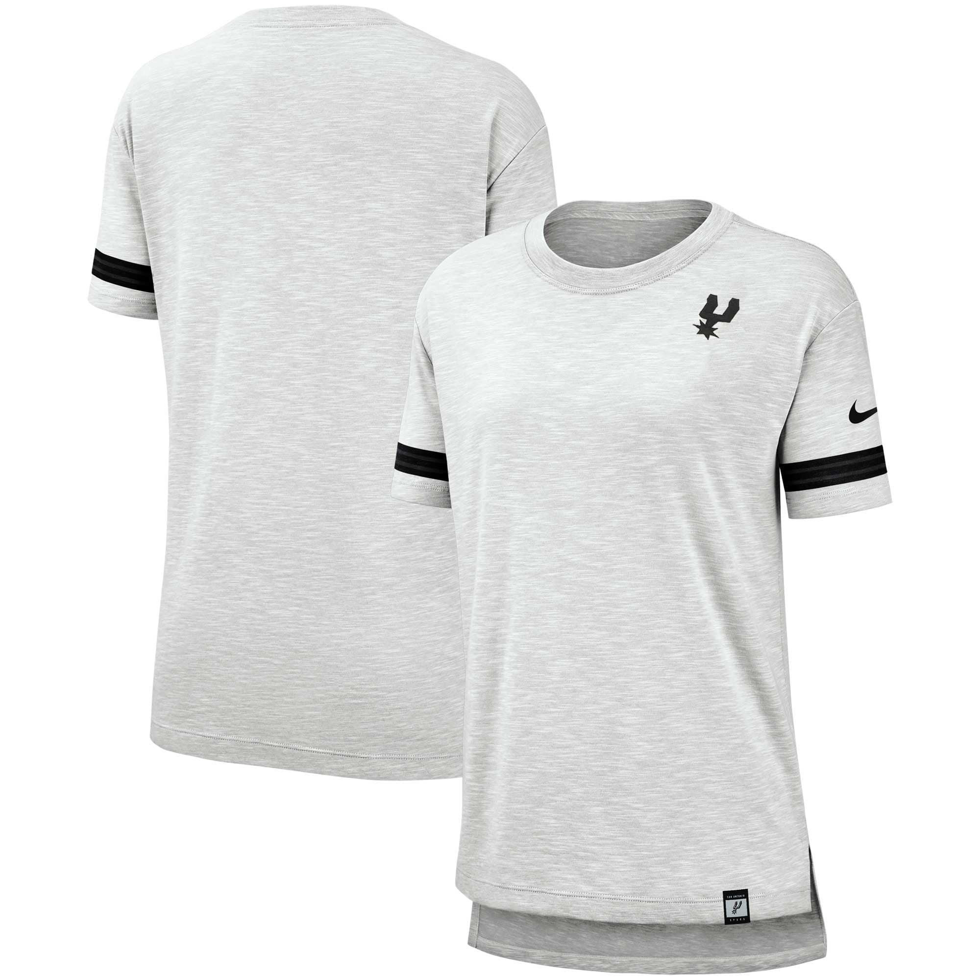 San Antonio Spurs Nike Women's Color Rush Sleeve Stripe Slub T-Shirt - Heathered Gray