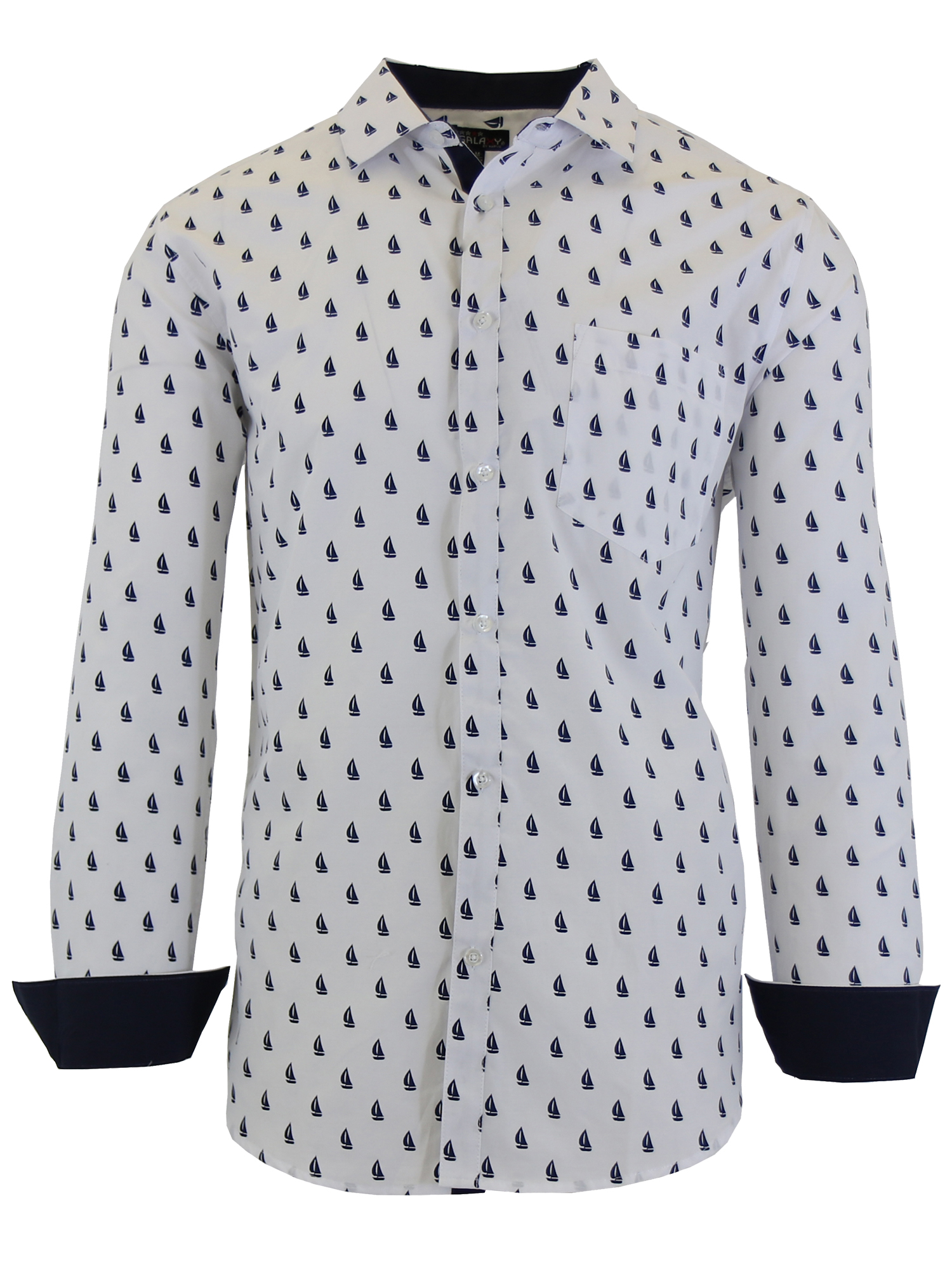 Mens VERTICAL Casual Short Sleeve Button Shirt Black Gray Trim w// Chest Pockets