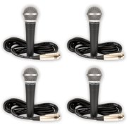 Podium Pro PP58 Dynamic 4 Microphones with Cables Set PA DJ Karaoke Studio Band PP58-4S