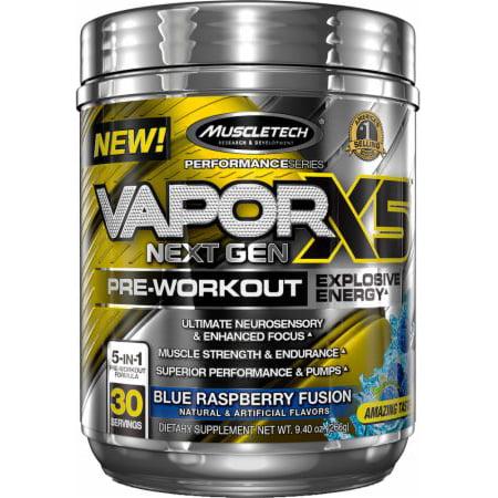 MuscleTech Vapor X5 Next Gen Explosive Energy Pre Workout Powder, Blue Raspberry, 30
