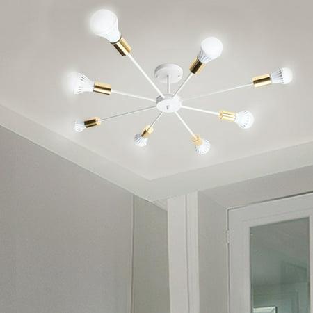 Fine Art Lamps Modern Chandelier (E27 8 Lights Modern Style Flush Mount Metal Ceiling Lamp Chandelier Lighting Fixure Home Decoration for Dining Room Kitchen Living Room, Black White)