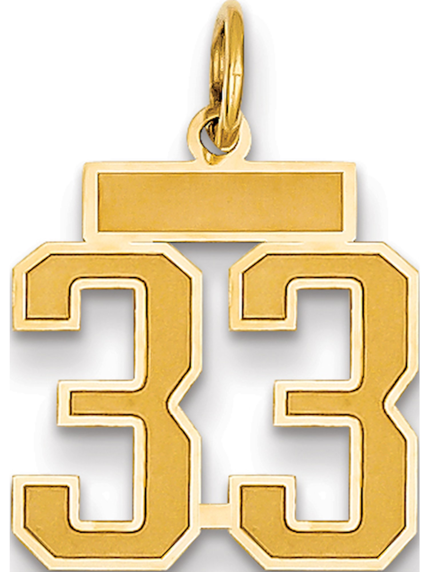 14k Yellow Gold Small Satin Number 33 Pendant / Charm