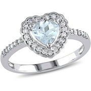 5/8 Carat T.G.W. Aquamarine and 1/5 Carat T.W. Diamond 10kt White Gold Heart Ring