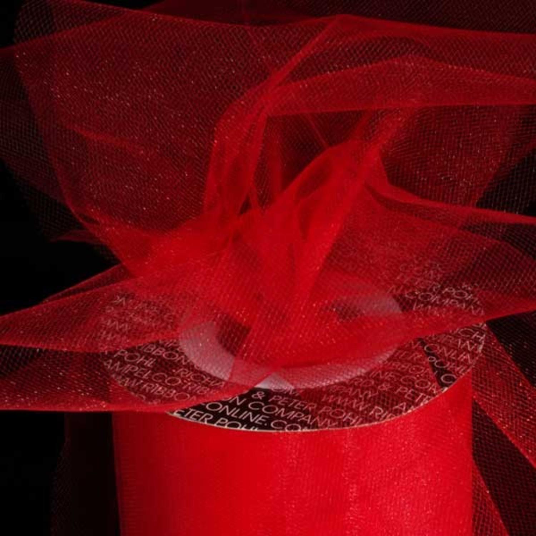 "Designer Scarlet Red Tulle Craft Ribbon 3"" x 550 Yards"