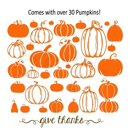 Pumpkin Assorted Decals set with Give Thanks vinyl decals wall quote halloween thanksgiving](Halloween Mischief Quotes)