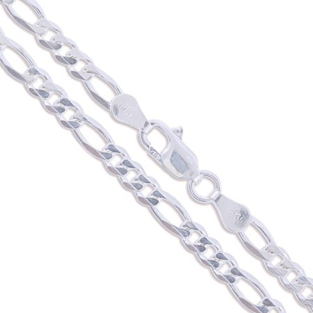 Sterling Silver Diamond-Cut Figaro Link Chain 3.9mm Solid 925 Italy Necklace 26