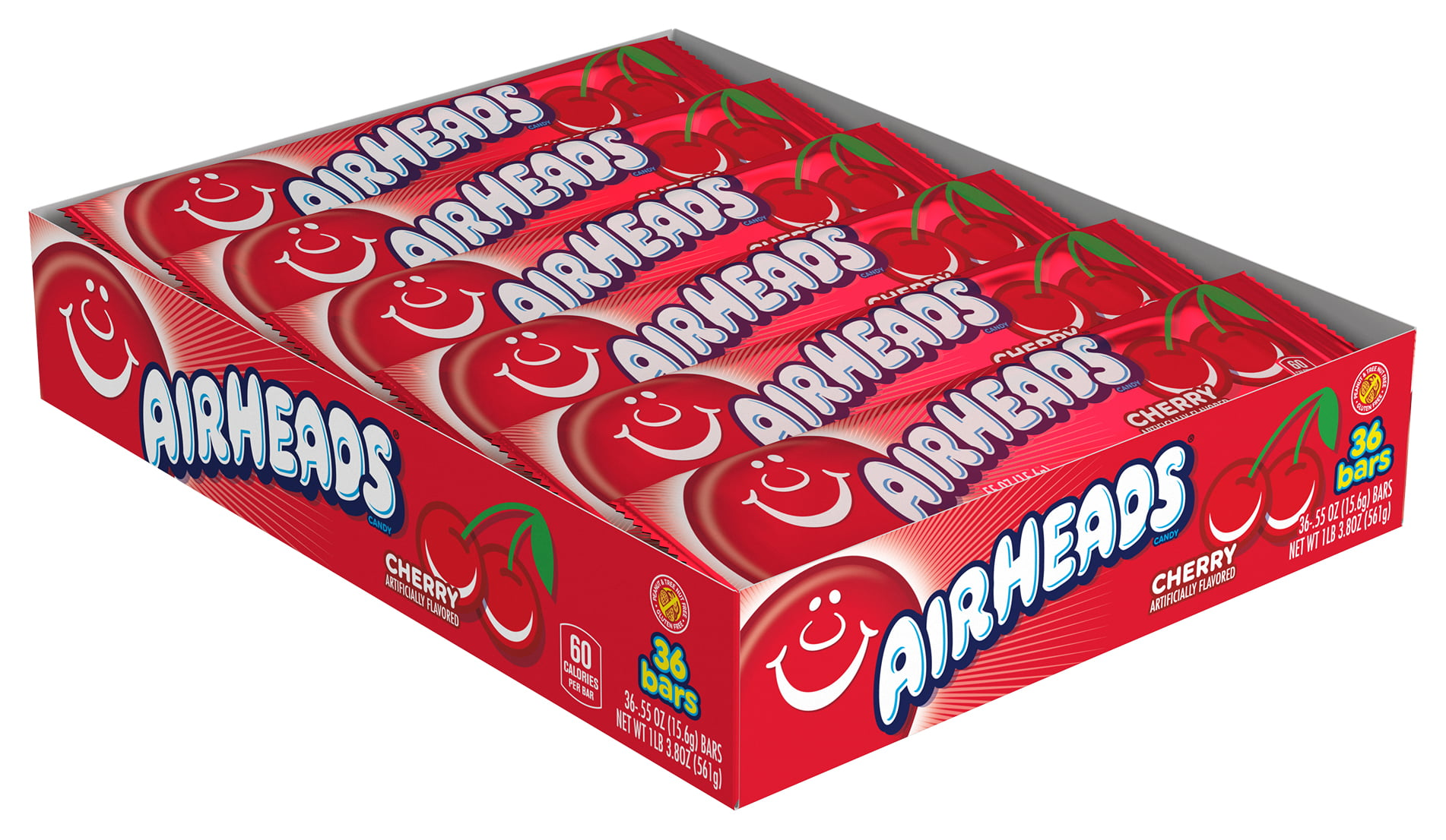 Airheads Candy Individually Wrapped Bars, Cherry, 36 Count