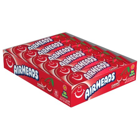 Airheads Candy Individually Wrapped Bars, Cherry, 0.55 Ounce (Bulk Pack of 36)