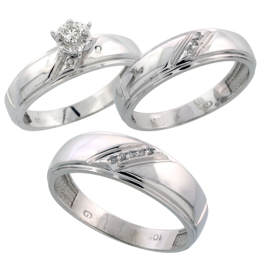 10k white gold diamond trio wedding ring set his 7mm & hers 5.5mm
