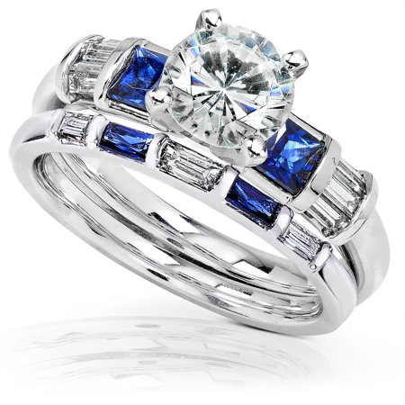 Moissanite Round Jewelry Set (Round Moissanite Bridal Set with Sapphire and Diamond 2 1/4 CTW 14k White Gold )