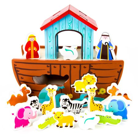 17pc. Noah's Ark Wooden Shape Sorter by, Help Noah get all his animals on the Ark, two by two! By Imagination Generation