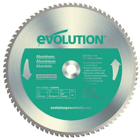 Evolution TCT Metal-Cutting Blades, 14 in, 1 in Arbor, 1,600 rpm, 80 Teeth