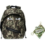 ZIPIT Grillz Carrying Case (Backpack) Books, Binder, Clothing, Tablet, Snacks, Bottle, School - Camouflage Green