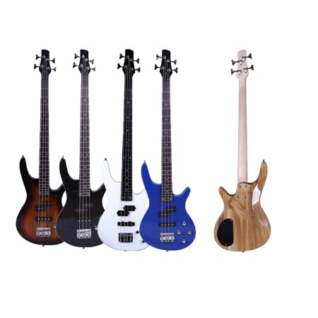 Ktaxon 34in 4-String 24-Fret Basswood Bass Guitar with Power Line and Wrench Tool 5 Colors Aria Bass Guitars