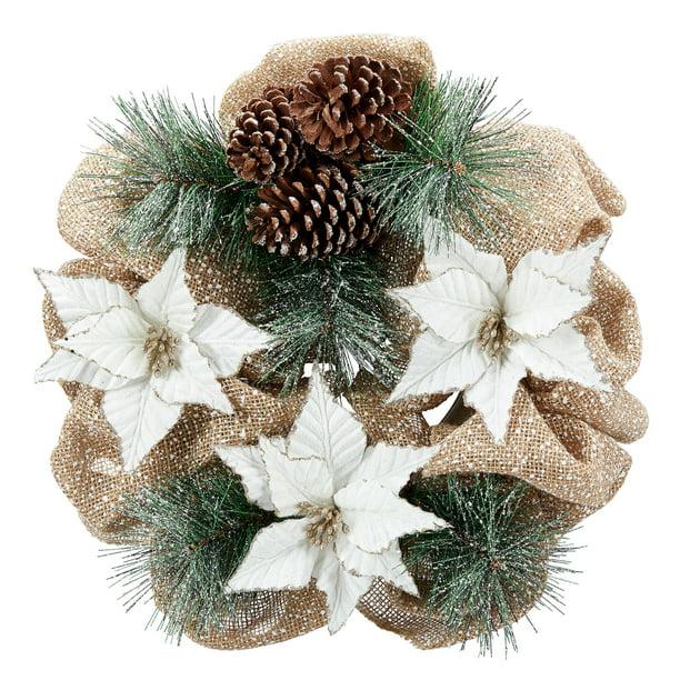 Holiday Time Natural Poinsettia Christmas Wreath Cream 20 Walmart Com Walmart Com