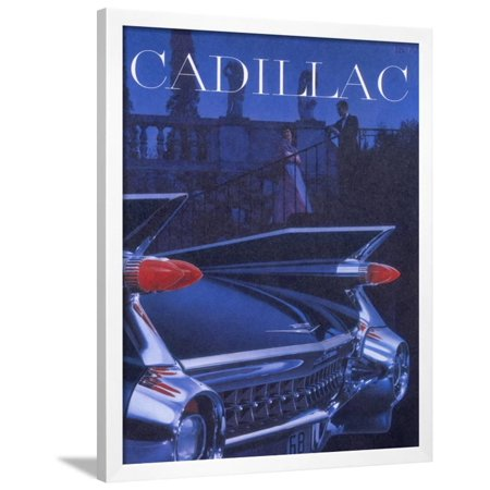- Poster Advertising a Cadillac, 1959 Framed Print Wall Art