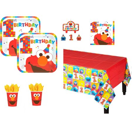 Elmo First Birthday Party Kit for 16 - Elmo Party Decorations