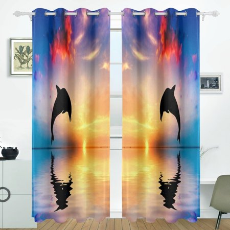POPCreation Dolphin Sunset Backgrounds Window Curtain Blackout Curtains Darkening Thermal Blind Curtain for Bedroom Living Room,2 Panel (52Wx84L Inches)
