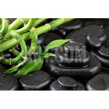 Spa Still Life with Hot Stones and Bamboo Print Wall Art By egal