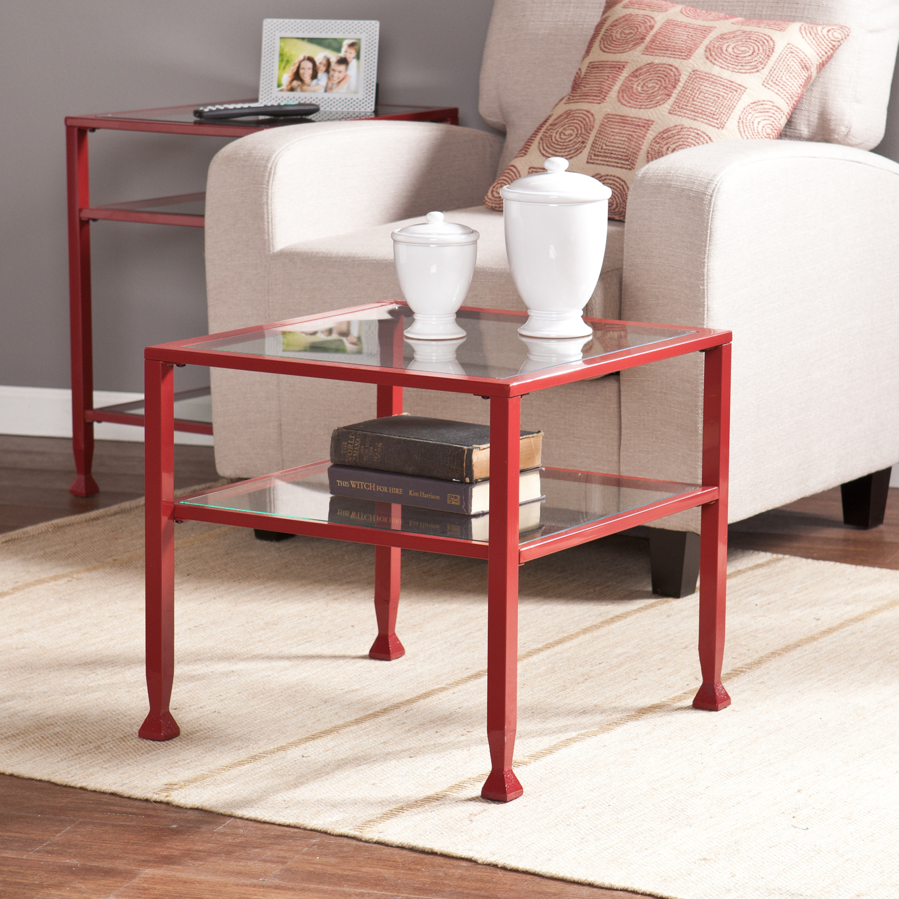 Lana Metal/Glass Bunching Cocktail Table, Red