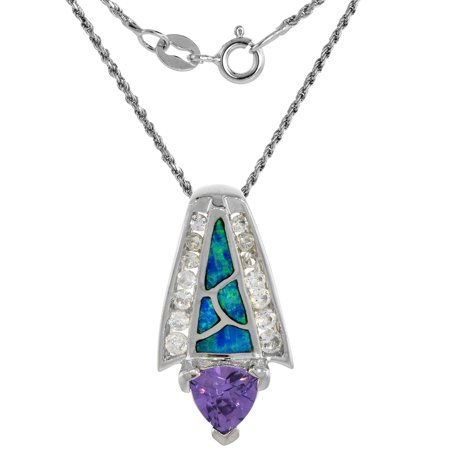 Sterling Silver Synthetic Opal Slide Necklace for Women 8mm Trillion Amethyst CZ 1 inch 16 inch ROPH_25