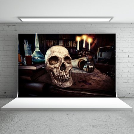 Laboratory Halloween Party (MOHome Polyster 7x5ft Halloween Backdrops Photography Human Skeleton Candles Laboratory Photo Studio Backgrounds for Halloween)