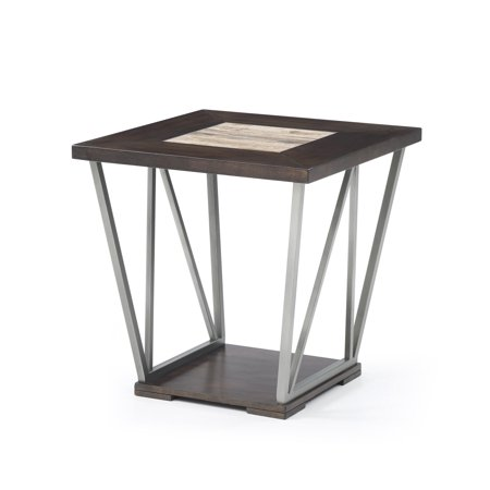 Emerald Bay Mojo (Emerald Home North Bay Brown and Silver Gray End Table with Wood And Tile Top And Metal Base)