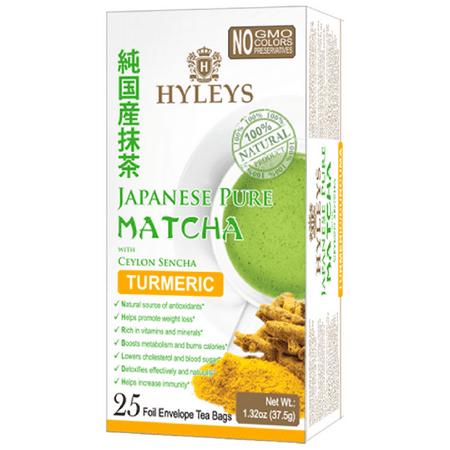Hyleys Japanese Pure Matcha Tea with Ceylon Sencha, Turmeric Flavor 25 Teabags 100% Natural Tea