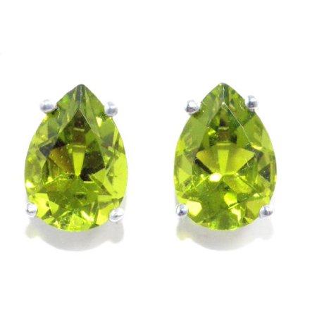 5 Carat Peridot Pear Stud Earrings .925 Sterling Silver ()