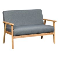 Lilola Home Bahamas Fabric Loveseat with Solid Wood Frame in Gray