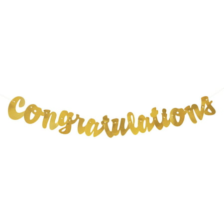 Foil Script Congratulations Banner, 3.5 ft, Gold, 1ct (Graduations Decorations)