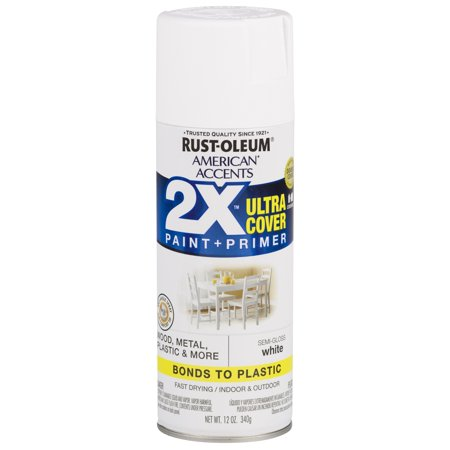Rust-Oleum American Accents Ultra Cover 2X Semi-Gloss White Spray Paint and Primer in 1, 12 oz for $<!---->