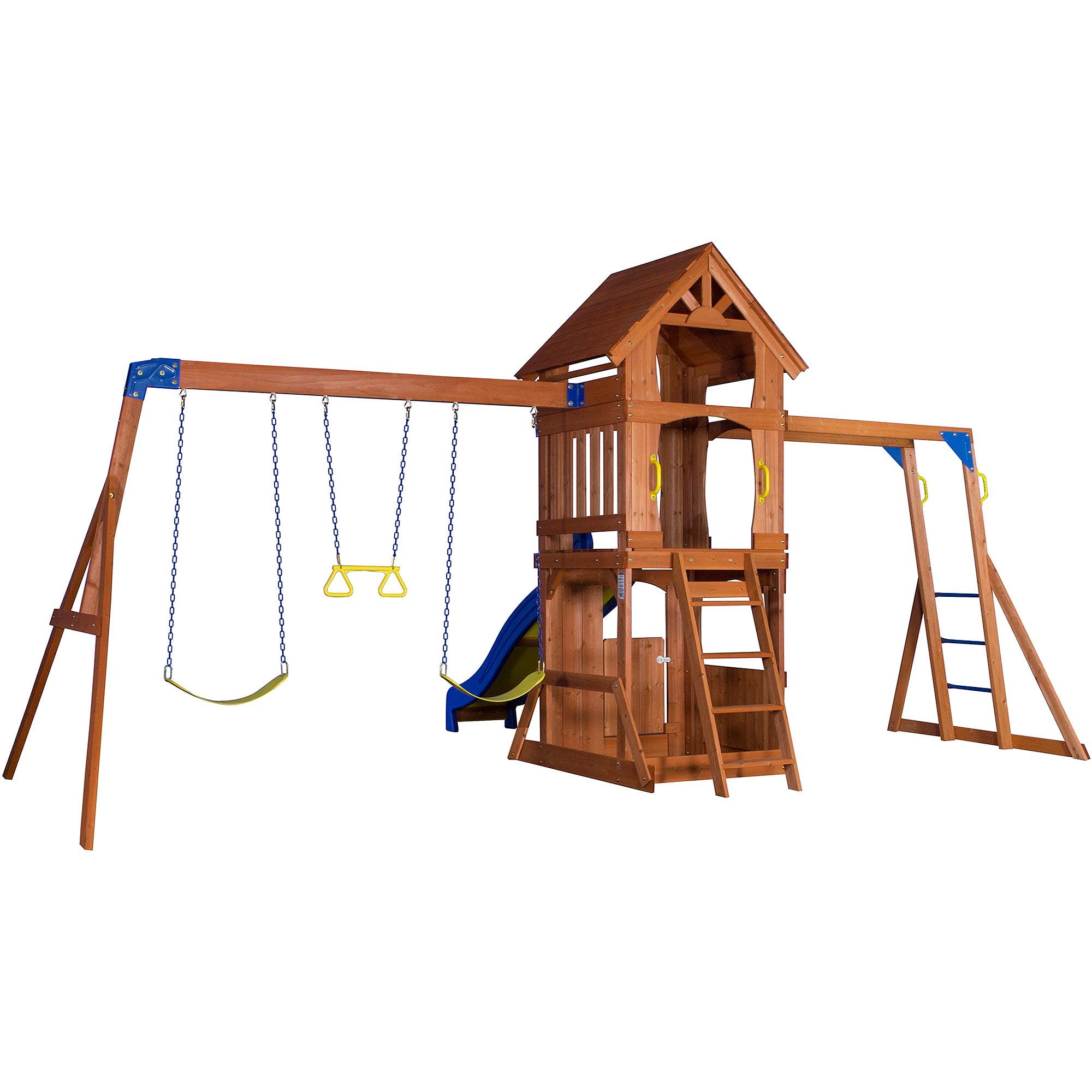 backyard discovery parkway wooden swing set box 1 of 2 walmart com